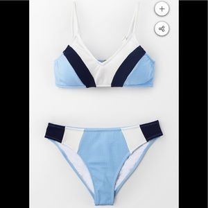 Cupshe Navy Blue White Bikini sz medium
